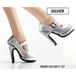 Female Oktober Girl Heeled Shoes (Silver)
