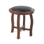 Wooden and Leather Stool (Brown)