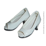 Shoes Series - Glossy White Open Toe Heel Pumps