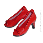Shoes Series - Glossy Red Open Toe Heel Pumps
