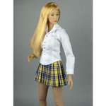 Female Shirt & Plaid Skirt Set (Yellow)