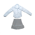 Female Shirt & Layered Skirt Set (Grey)