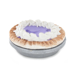 Violet pie with wood plate