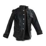 Leather Panzer Elite Jacket with Obersturmbannführer Shoulders Tabs (Black)