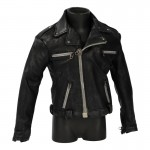 Worn Leather Biker Jacket (Black)