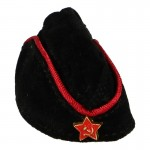 Female Suede Red Army Officer Pilotka Side Cap (Black)