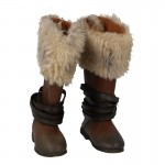 Worn Leather Fur Boots (Brown)