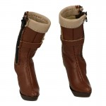 Female Leather Heeled Boots (Brown)