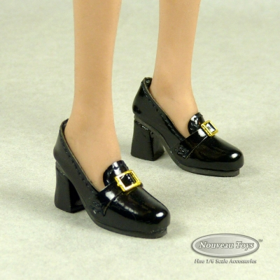 Female Platfrom Loafer Heel Shoes (Black)