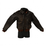 Damaged Worn Leather Flight Jacket (Brown)